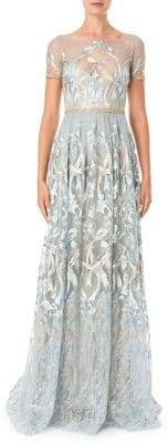 Marchesa Embroidered Metallic Floor-Length Gown