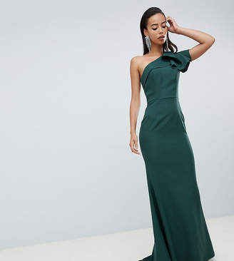 Jarlo Tall ruffle frill one shoulder maxi dress in green