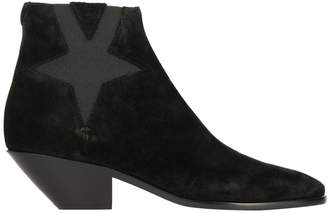 Saint Laurent Boots Ankle Boots In Suede With Maxi Star