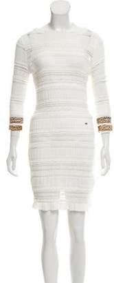 Just Cavalli Lace-Accented Mini Dress White Lace-Accented Mini Dress