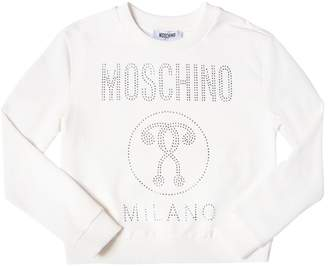 Moschino Crystal Logo Cotton Sweatshirt