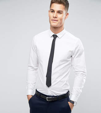 Asos Design Stretch Slim Shirt In White With Black Tie Save