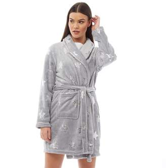 Brave Soul Womens Stars Dressing Gown Grey Metallic Star