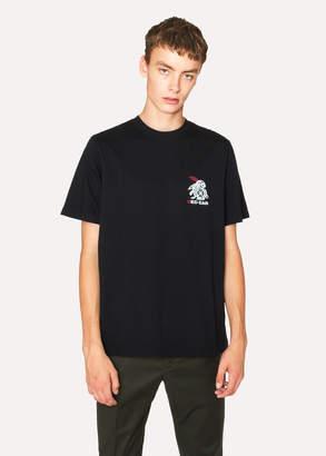 Paul Smith Men's Black Red Ear 'Rabbit Logo' Print T-Shirt