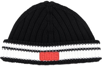 GCDS colour-block beanie hat