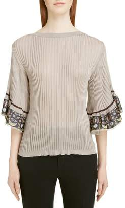 Chloé Flutter Sleeve Ribbed Top
