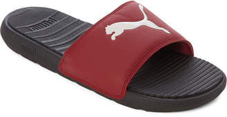 Puma Black & Rhubarb Cool Cat Slide Sandals