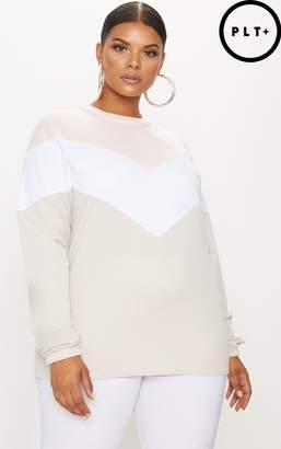 PrettyLittleThing Plus Stone Chevron Sweater