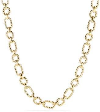 David Yurman Chain Cushion Link Necklace with Diamonds in 18K Gold