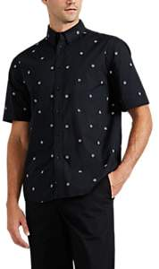 Rag & Bone Men's Smith Dagger-Print Cotton Button-Down Shirt - Black