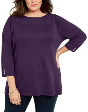 Karen Scott Plus Size Ribbed Ballet Neck Cotton Sweater, Created For Macy's
