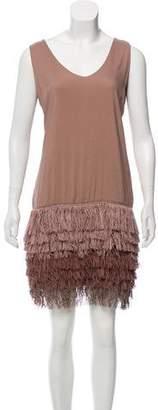 Brunello Cucinelli Fringe-Accented Sleeveless Dress