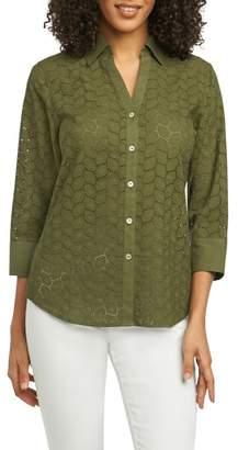 Foxcroft Mary Leaf Eyelet Shirt