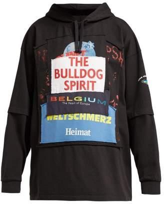Vetements Bulldog Patchwork Cotton Hooded Sweatshirt - Womens - Black Multi