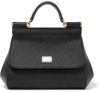 Dolce & Gabbana Sicily Micro Textured-leather Tote - Black