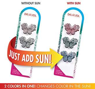 Girl's Color-Changing Hair Clips by Del Sol - Metal Butterfly Hairclips - Changes Color in the Sun