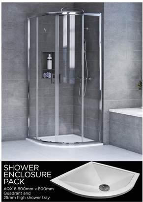 Aqualux AQX 6 Quadrant Shower Enclosure and AQUA 25 Tray Bundle Kit