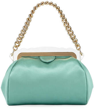 Edie Parker Aliza Framed Satin Chain-Handle Clutch Bag