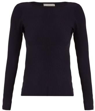 Vince Boat Neck Ribbed Knit Top - Womens - Navy