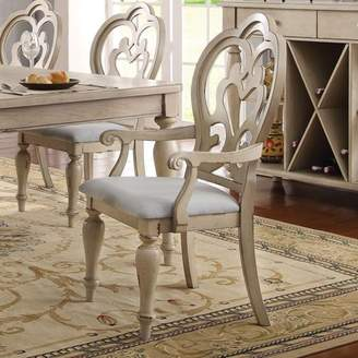 ACME Furniture ACME Abelin Arm Chair, Fabric & Antique White (Set of 2)