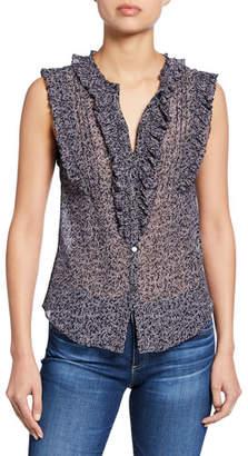 Rebecca Taylor Block Vine Sleeveless Button-Front Ruffle Top