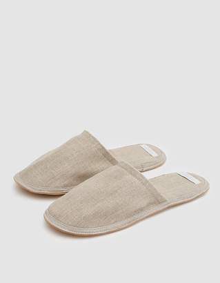 Fog Linen Linen Slippers in Natural - Medium
