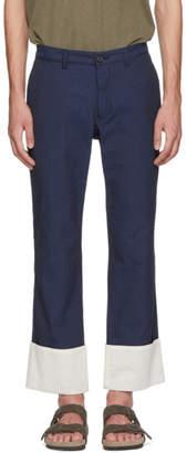 Loewe Navy Seersucker Chino Trousers