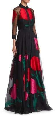 Carolina Herrera Collared Embroidered Rose Gown