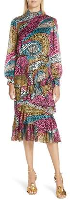 Saloni Isa Polka Dot Devore Satin Dress