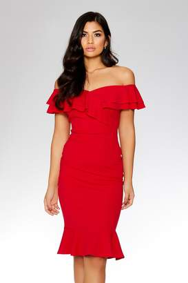 480d4a313f73 Red Bardot Dress Frill - ShopStyle UK