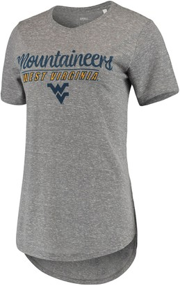 Unbranded Women's Pressbox Heathered Gray West Virginia Mountaineers Cherie Rounded-Bottom Tri-Blend T-Shirt