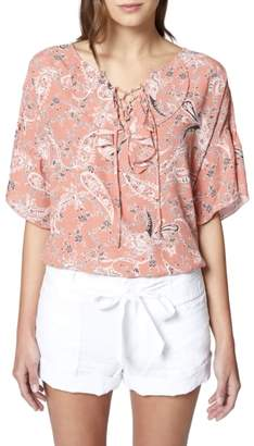 Sanctuary Nicola Lace-Up Print Top