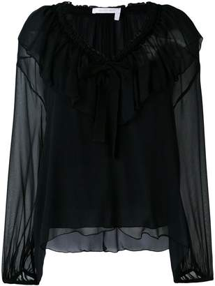 See by Chloe ruffled neck tie blouse