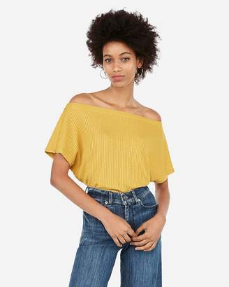 f77f92d9c76 Express One Eleven Off The Shoulder Waffle Knit Tee