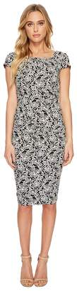Adrianna Papell Alicia Jacquard Draped Dress Women's Dress