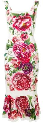 Dolce & Gabbana Sleeveless Square Neck Rose Print Fitted Midi Dress