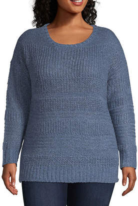 ST. JOHN'S BAY Cozy Textured Stripe Pullover - Plus