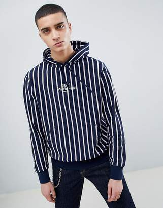 HUF Sutter Striped Hoodie With Embroidered Logo In Navy