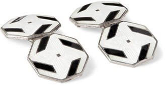Foundwell 1920s Art Deco Enamelled Sterling Silver Cufflinks