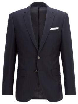 BOSS Hugo Slim-fit jacket in patterned virgin wool 40R Open Blue