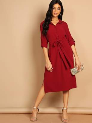 Shein Roll Tab Sleeve Drawstring Waist Shirt Dress
