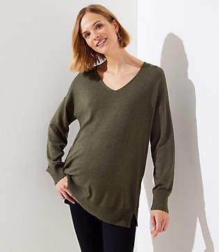 LOFT Maternity Double V Tunic Sweater
