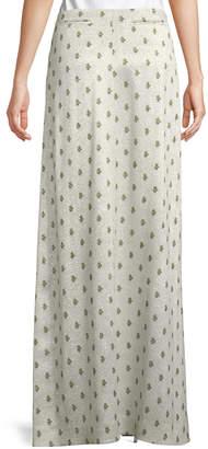 Valentino Floor-Length Hammered Metallic Rose-Print A-Line Skirt