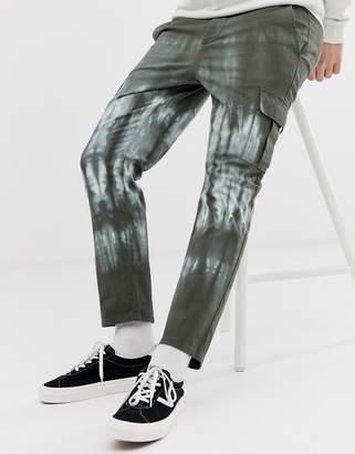 Asos Design DESIGN slim cargo pants in dark green tie dye