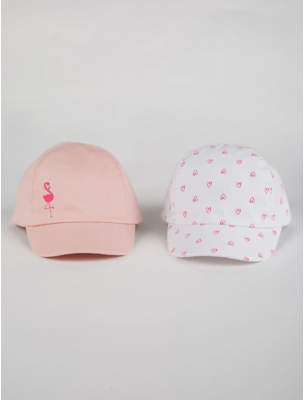George Pink and White Flamingo Caps 2 Pack