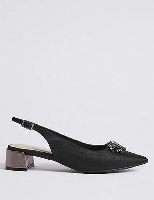 Marks and Spencer Block Heel Jewel Pointed Toe Court Shoes