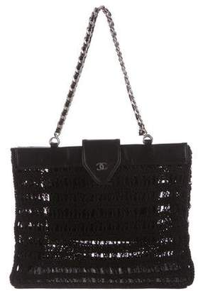 Chanel Leather-Trimmed Crochet Tote