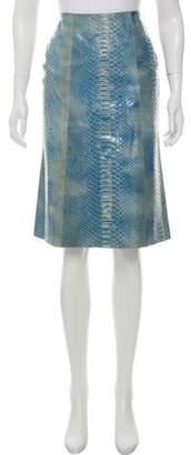 Calvin Klein Collection Snakeskin Knee-Length Skirt