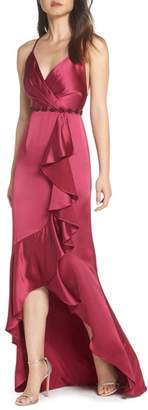 Adrianna Papell Satin High/Low Faux Wrap Gown