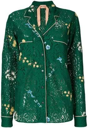 No.21 フローラル刺繍 レースシャツ